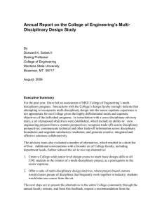 Annual Report on the College of Engineering's Multi- Disciplinary Design Study