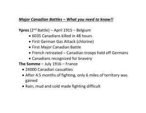 Major Canadian Battles – What you need to know!!  Ypres