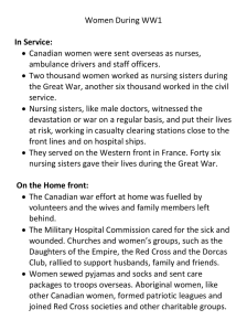 Women During WW1   Canadian women were sent overseas as nurses,