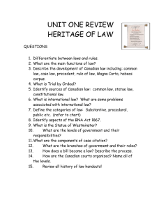 UNIT ONE REVIEW HERITAGE OF LAW