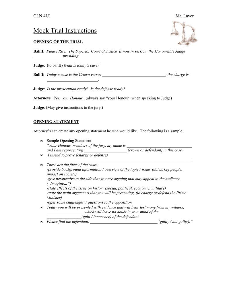 Mock Trial Instructions Cln 4u1 Mr Laver