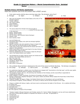 Grade 11 American History – Movie Comprehension Quiz:  Amistad Application