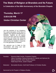 The State of Religion at Brandeis and Its Future 5:00-6:00 PM