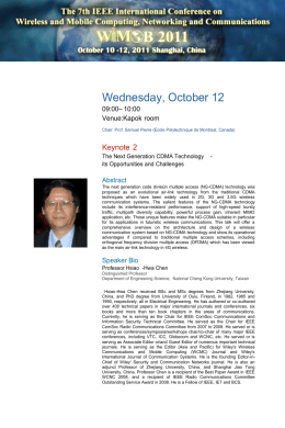W M B 2011 Wednesday, October 12 The 7th IEEE International Conference on