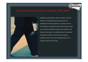 Solar Polysilicon Industry Report, 2007-2008