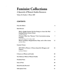 Feminist Collections A Quarterly of Women's Studies Resources CONTENTS