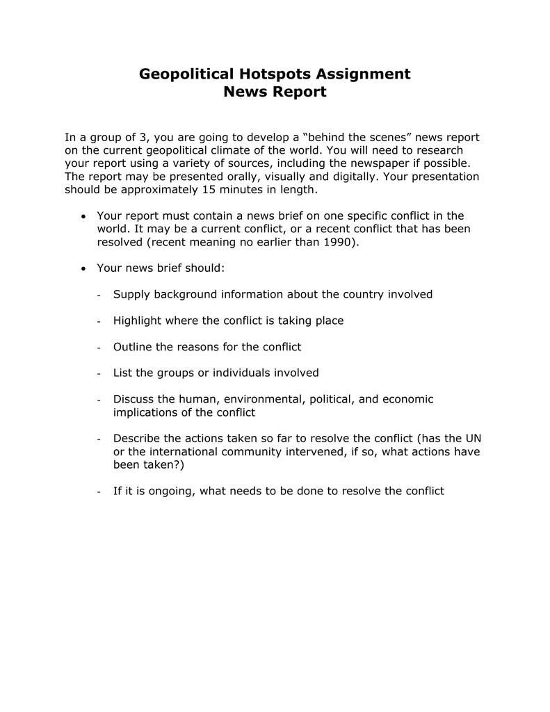 Geopolitical Hotspots Assignment News Report