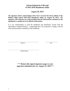 Acknowledgement of Receipt of 2015-2016 Handbook online  August 20, 2015