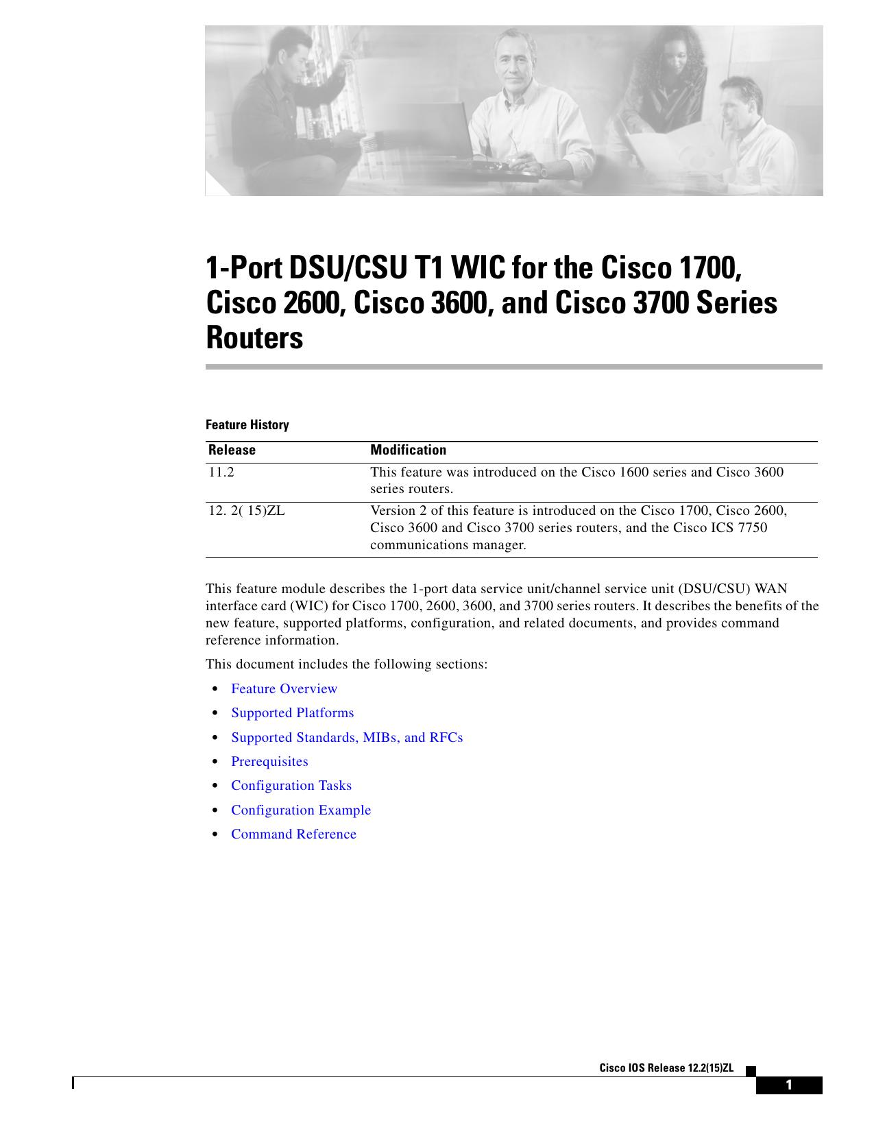 1-Port DSU/CSU T1 WIC for the Cisco 1700, Routers