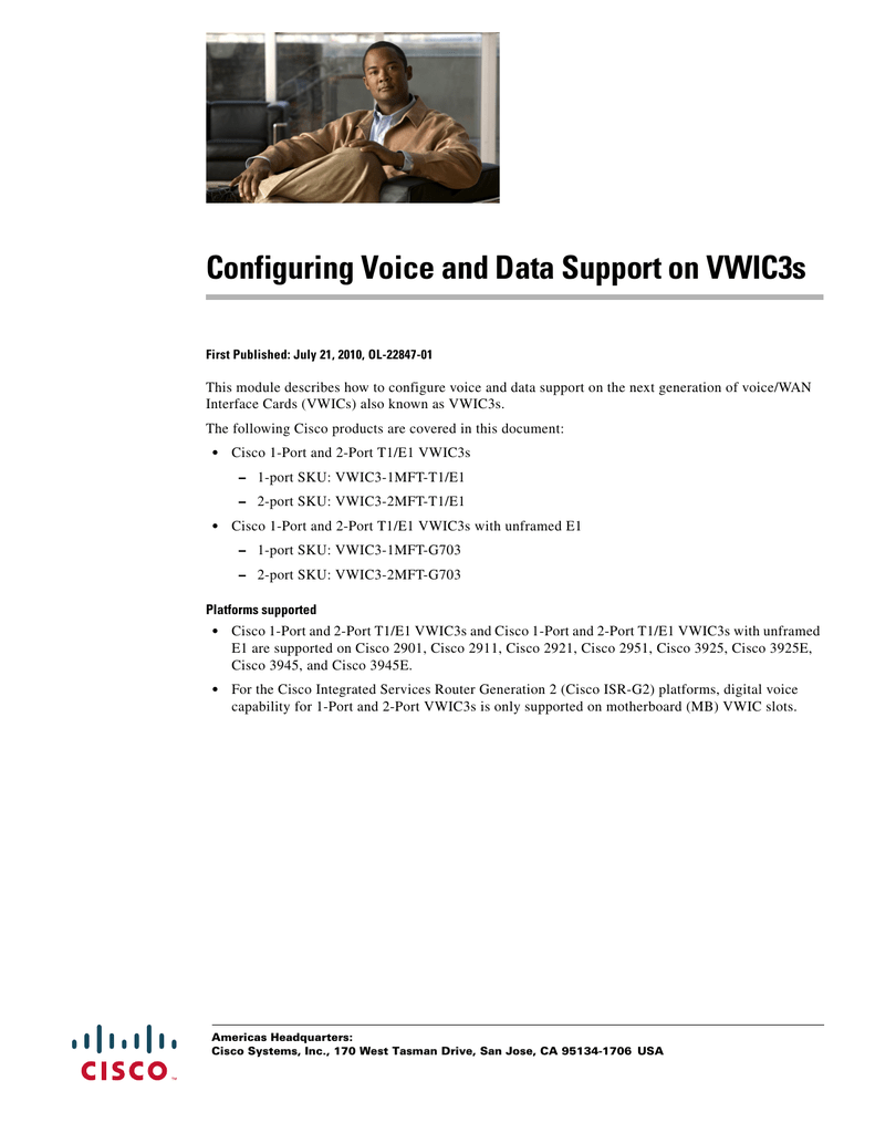 Configuring Voice and Data Support on VWIC3s