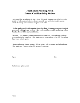 Journalism Reading Room Patron Confidentiality Waiver