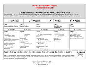 Science Curriculum: Physics Traditional Schedule  Georgia Performance Standards:  Year Curriculum Map