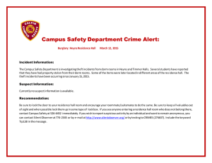 Campus Safety Department Crime Alert:
