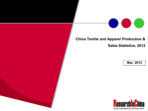 China Textile and Apparel Production & Sales Statistics, 2012 Mar. 2013