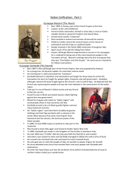 Italian Unification:  Part 1 Guiseppe Mazzini (The Heart)
