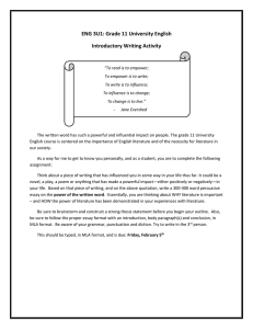 ENG 3U1: Grade 11 University English Introductory Writing Activity