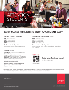 ATTENTION STUDENTS  CORT MAKES FURNISHING YOUR APARTMENT EASY!