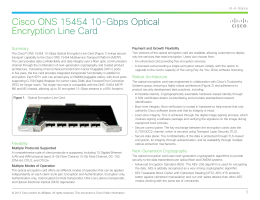 Cisco ONS 15454 10-Gbps Optical Encryption Line Card Summary Payment and Growth Flexibility