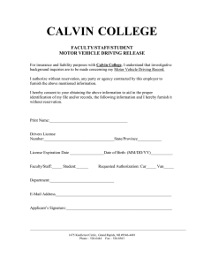 CALVIN COLLEGE FACULTY/STAFF/STUDENT