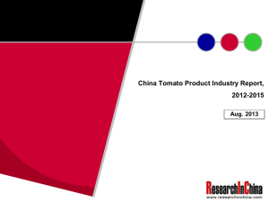 China Tomato Product Industry Report, 2012-2015 Aug. 2013