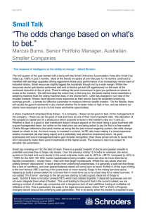 """The odds change based on what's to bet."" Small Talk"
