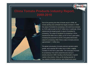 China Tomato Prod cts Ind str Report 2009-2010