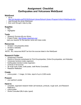 Assignment  Checklist Earthquakes and Volcanoes WebQuest WebQuest Supplies