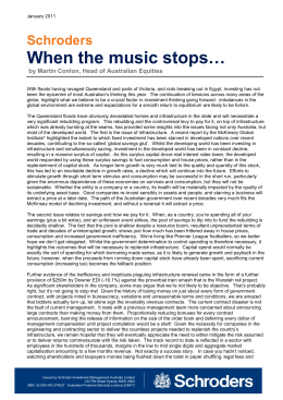 When the music stops… Schroders  by Martin Conlon, Head of Australian Equities