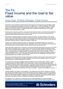 Fixed Income and the road to fair value The Fix