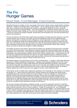 Hunger Games The Fix Stuart Dear, Fund Manager, Fixed Income