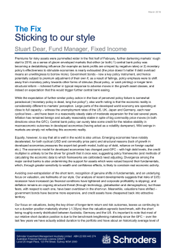 Sticking to our style The Fix Stuart Dear, Fund Manager, Fixed Income