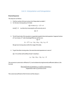 Unit 4: Interpolation and Extrapolation