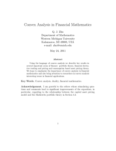 Convex Analysis in Financial Mathematics