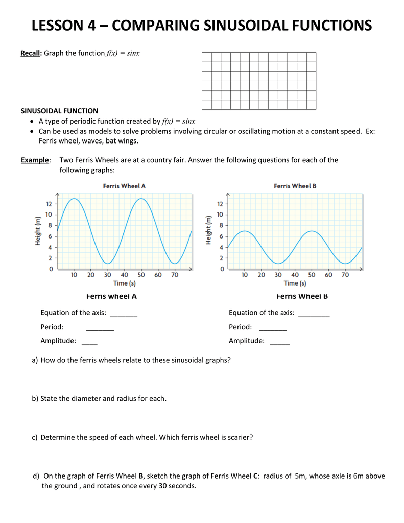 LESSON 4 – COMPARING SINUSOIDAL FUNCTIONS