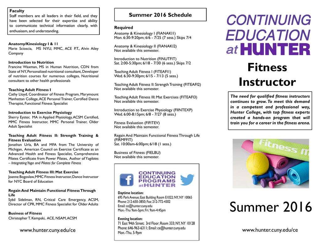Summer 2016 Schedule Faculty