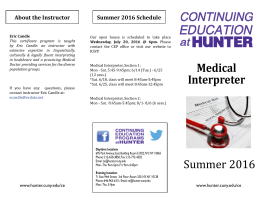 About the Instructor Summer 2016 Schedule