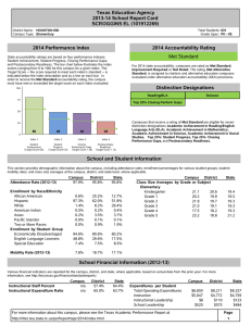 Texas Education Agency 2013-14 School Report Card SCROGGINS EL (101912269) 2014 Performance Index