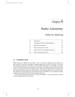 6 Radio Astronomy Chapter Robert M. Hjellming