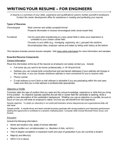 WRITING YOUR RESUME – FOR ENGINEERS