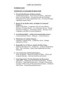 TABLE OF CONTENTS  INTRODUCTION COMMUNITY STANDARDS OF BEHAVIOR