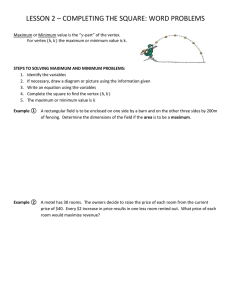 LESSON 2 – COMPLETING THE SQUARE: WORD PROBLEMS
