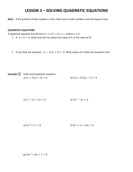 LESSON 3 – SOLVING QUADRATIC EQUATIONS