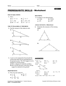 PREREQUISITE SKILLS - Worksheet