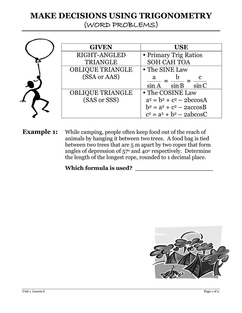 MAKE DECISIONS USING TRIGONOMETRY (WORD PROBLEMS)