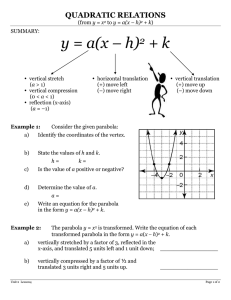y = a(x – h) + k 2 QUADRATIC RELATIONS