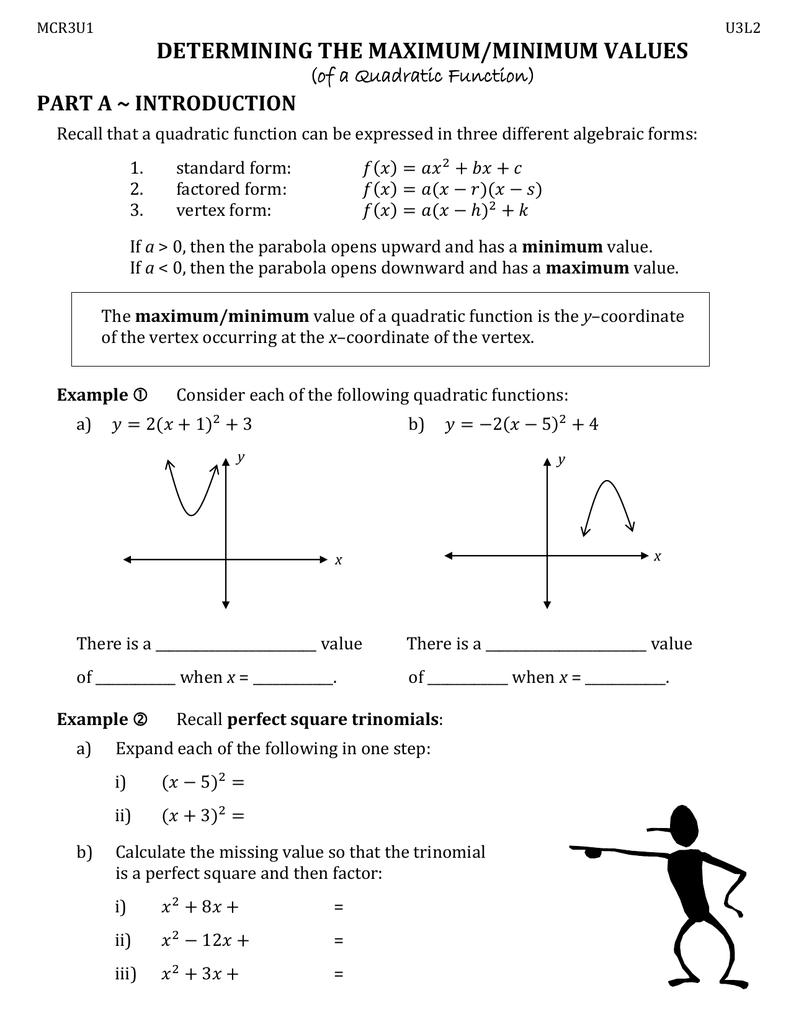 Determining the maximumminimum values part a introduction of a determining the maximumminimum values part a introduction of a quadratic function falaconquin