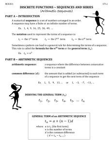 DISCRETE FUNCTIONS ~ SEQUENCES AND SERIES  (Arithmetic Sequences) PART A ~ INTRODUCTION