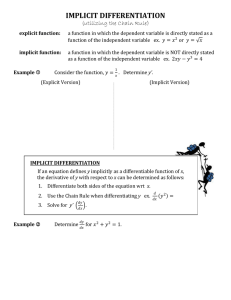 IMPLICIT DIFFERENTIATION (utilizing the Chain Rule)