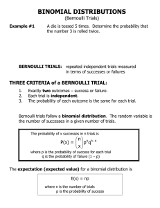 BINOMIAL DISTRIBUTIONS (Bernoulli Trials)