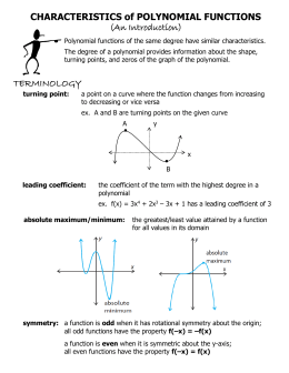 CHARACTERISTICS of POLYNOMIAL FUNCTIONS (An Introduction)